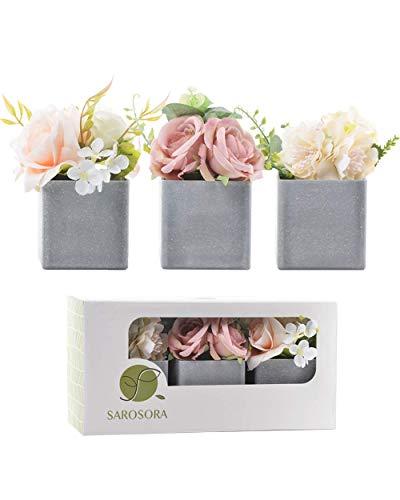 SAROSORA Artificial Potted Flower Plants with Plastic Vase Planter for Home Decor Wedding Decor Rose & Peony Arrangement Lovely Gift - 6 Inch Set of 3 (Square Vase)