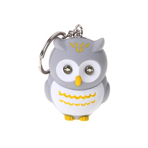 ForHe Mini Toy 3D Cartoon Owl Keychain LED Keychain with Flash Light and Shutter Sounds for Children 3+