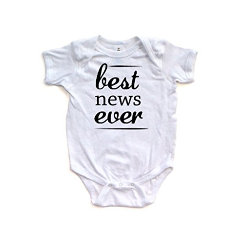 Apericots Fun Best News Ever Print Announcement Short Sleeve Baby Bodysuit