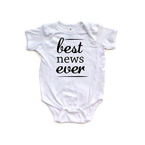 Apericots Fun Best News Ever Print Announcement Short Sleeve Baby Bodysuit