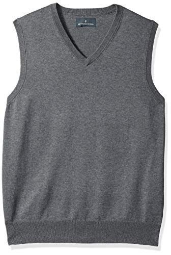- BUTTONED DOWN Men's Supima Cotton Lightweight Sweater Vest, dark grey, Small