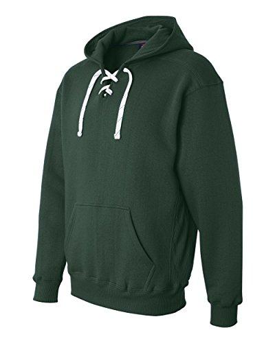 Forest Hockey Hood Sweatshirt: 80% Ringspun Cotton, 20% Polyester Fleece Fabric.,Forest Green,X-Large
