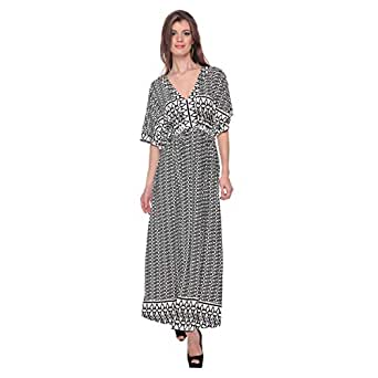 Cocum Justain Printed Maxi Dress For Women - 8 Uk, Black/white