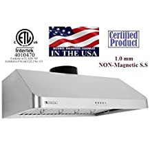 """XtremeAir Ultra Series UL10-U36,36"""" width, 900 CFM, Baffle filters, 3-Speed Mechanical Buttons, Full Seamless, 1.0 mm Non-magnetic S.S, Under cabinet hood"""