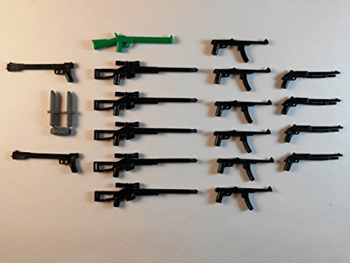 Guns for Lego Minifigures. Lot of 20. New!! Sniper rifle shotgun Star wars Knifes Batman - Tracking Class Mail Number First Usps