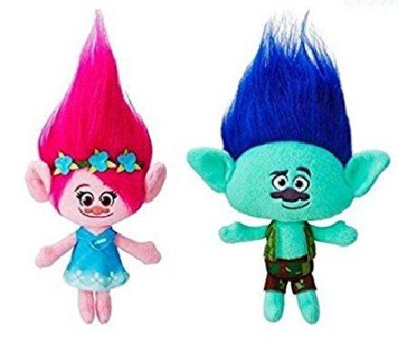ESSENCED 2Pcs Trolls Poppy & Branch Hug 'N Plush Doll Toy Set Gift 9'' 23CM by ESSENCED