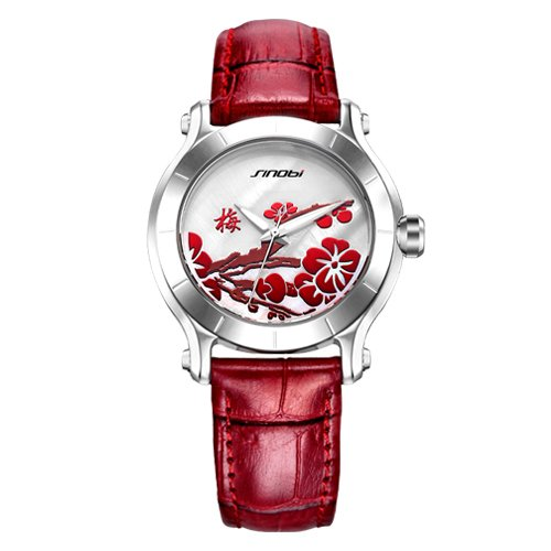 red SINOBI New Chinese Women Watches For Plum Flower Female Red Leather Fashion Wristwatches Ladies Clock