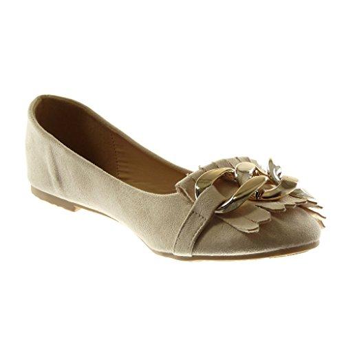 cm Moda On Frange D'Oro Ballerina Beige Blocco Slip Donna a Catena Angkorly 1 Scarpe Tacco xqIpOCwx5A