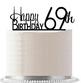 Price comparison product image CakeSupplyShop Item AE-173 Happy 69th Birthday Agemilestone Elegant Cake Topper
