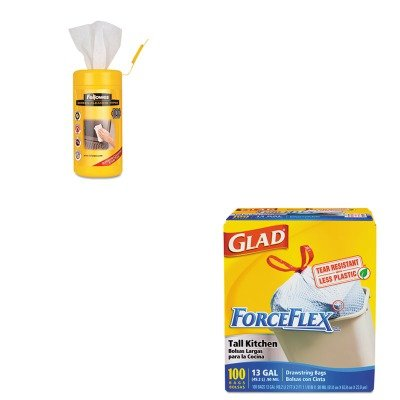 KITCOX70427FEL99703 - Value Kit - Fellowes Screen Cleaning Wet Wipes (FEL99703) and Glad ForceFlex Tall-Kitchen Drawstring Bags (COX70427)