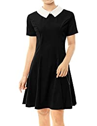 Women's Contrast Doll Collar Short Sleeves Above Knee Flare Dress