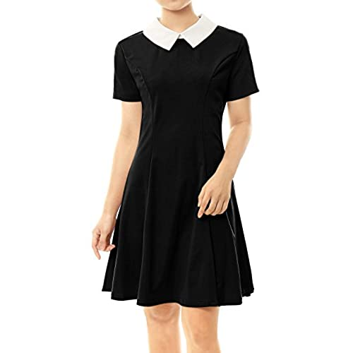 Allegra K Womens Peter Pan Collar Above Knee Fit and Flare Dress S Black