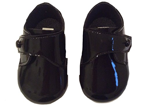 Bebé Niños botón cierre zapatos en blanco o negro o azul fabricado en el Reino Unido Black patent Talla:6-12 meses Black patent