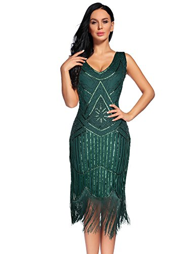(Flapper Girl Women's Vintage 1920s Sequin Beaded Tassels Hem Flapper Dress (XXL, Blackish Green))