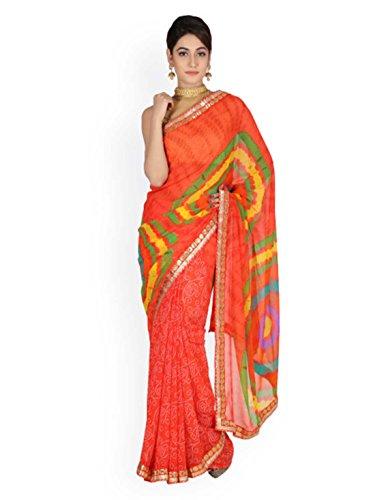 Embellished Print Bandhani Geroo Saree Jaipur Georgette Red wHZ11AqX