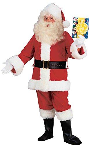 Forum Novelties Men's Deluxe Plush Santa Costume Suit, Red/White, Standard (Velvet Elf Suit Costume)