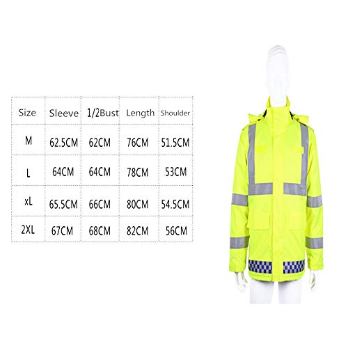 GSHWJS- trash can Reflective Cotton Jacket Winter Traffic Duty Warning Safety Jacket Detachable Cotton Suit, Green Reflective Vests (Size : S) by GSHWJS- trash can (Image #8)