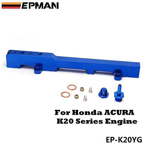 (EPMAN For Honda K-Series K20 DC5 EP3 JDM Race Billet Aluminum High Flow Fuel Rail Assembly (Blue) )