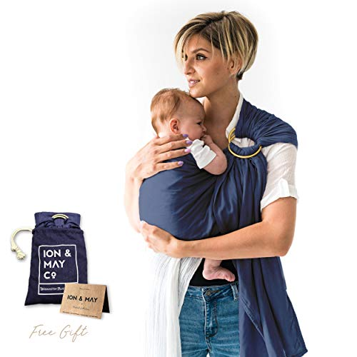 Baby Slings by ION x May Natural Collection Soft Breathable Lightweight Bamboo Infant Baby Carrier Baby Shower Gift Nursing Cover, Cuddle Wrap Baby Boy Carrier with Pouch Washington Blue