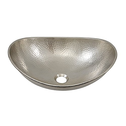 Sinkology SB305-19N Hobbes 19 Inch Above Counter Vessel Sink Handcrafted In Hammered Nickel by Sinkology