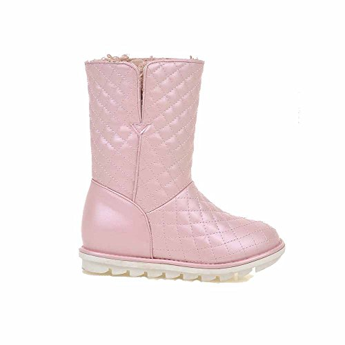 Mid Heels Womens Boots Pu Pull Solid Kitten Top AmoonyFashion Pink On H8ZwERAq8g