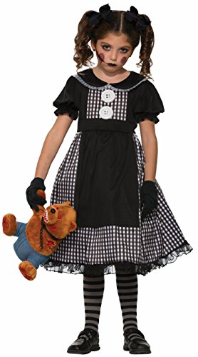 Doll Face Paint Costume (Forum Novelties Kids Dark Rag Doll Costume, Black, Medium)