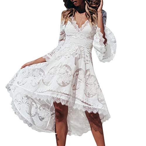 De xl Grande Bodycon Noche Novia Largo Polp 5white Talla Blanco Para Dress Chaleco Sin Vestido V Mujer Encaje Mangas Fiesta Boda Cuello S Cintura BdqFSnwfT