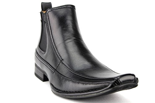 Price comparison product image Majestic Men's 76631 Leather Lined Ankle High Chelsea Dress Boots,  Black Waxi,  9.5