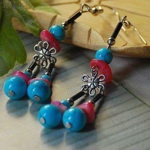 usongs Original European style palace luxury Thai original plum turquoise earrings fashion personality cute by usongs