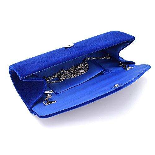 Women's Handbag Tote Party Evening Envelope U Bag Velvet Wedding Clutch Purse Blue Story ag5zPqS