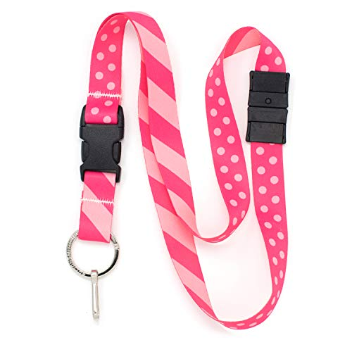 Buttonsmith Pink Dots Breakaway Lanyard - with Buckle and Flat Ring - Made in The USA ()