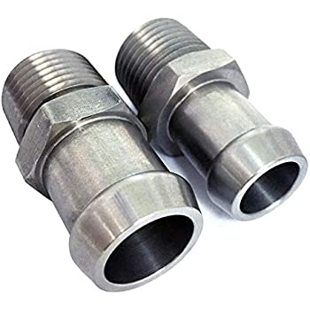 """Heater Hose Fittings 3//4/"""" Water Pump 5//8/"""" Intake Chrome Steel Chevy Set SBC 350"""