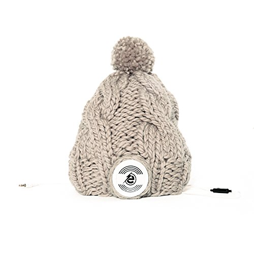 Earebel Grey-Brown Hand Knitted Plait Bobble Hat Beanie with Built-In White AKG Headphones, Gillies by Earebel powered by AKG