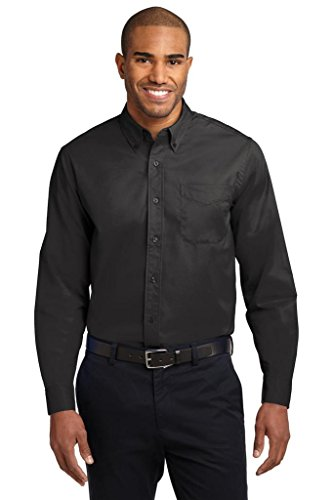 Joe's USA Mens X-Large Tall Long Sleeve Easy Care Shirt-Black