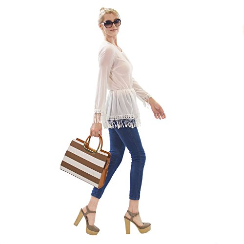 Handbag leather White Laptop Dasein Xl2828 PU Women's Briefcase Handle Top Bag Designer Stripe Tote Satchel Stripes 2pcs Purse Coffee 5qqntfxw