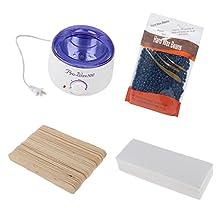 MagiDeal Hair Removal Electric Hot Paraffin Wax Warmer Heater Machine + Hard Wax Beans + Paper + Wood Sticks Set