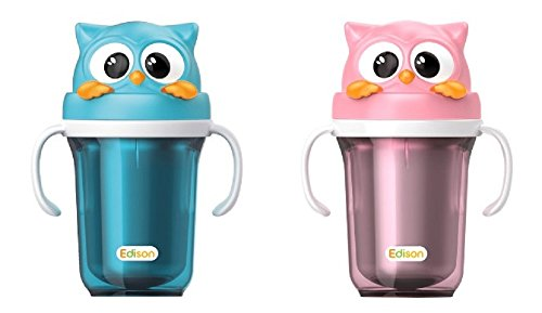 Avent Magic Cup Trainer Handles (Edison Owl Dual Stainless Baby Bottle Straw Cup,Spill Prevention Straw, Excellent Keeping Warm and Cool Effect, 1+1 300ml (Pink 300ml + Blue 300ml))