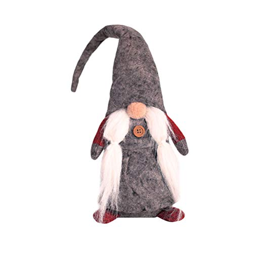 BESTOYARD Gnomo Sueco Juguetes de Peluche Adornos para el árbol de Navidad Adorno de Elfo de Navidad Regalo (Gris)