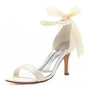 ElegantPark Women Ankle Strap Shoes Open Toe Pearls Satin Bridal Wedding Sandals