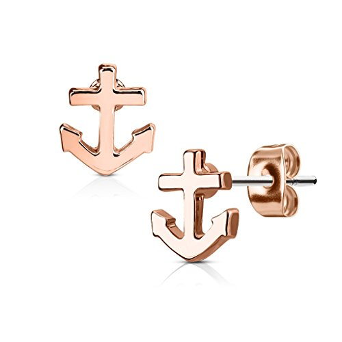 Earring Studs in 316L Surgical Steel - Available in Multiple Colors! (Rose Gold Tone) (Anchor Stud Earrings)