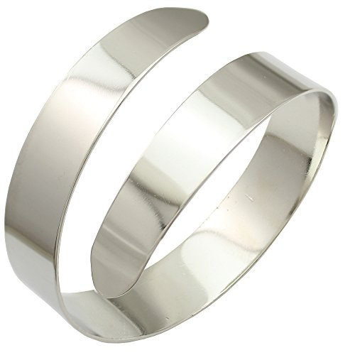Silver Plated Q&Q Fashion Egypt Cleopatra Swirl Snake Upper Arm Cuff Armlet Armband Bangle Bracelet, dia.3