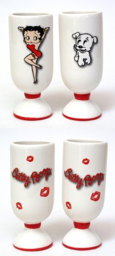 Sexy Shoot Glass White Ceramic Betty Boop Puppy Design Red LIps Print Cartoon Fun Party Drink Holder Tequila Shooter Serve Gift Ideas (Set of 2)