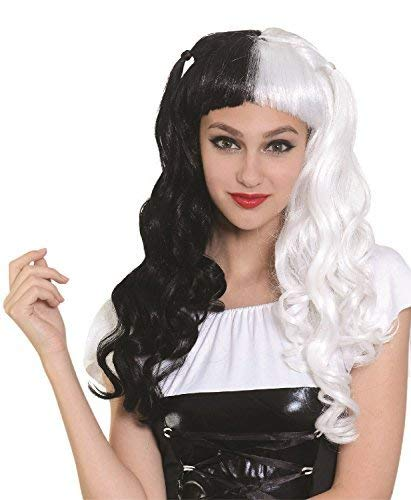 Ladies Long White Black Music Celeb Icon Dalmatian Villain TV Book Film Halloween Carnival Fancy Dress Costume Outfit Wig -