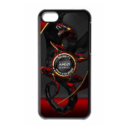 Ordinateurs A4H44 marques logos composants AMD microprocesseurs f logo X8L8NE coque iPhone 5c téléphone cellulaire couvercle du boîtier de coque noire DB1PQL1EI