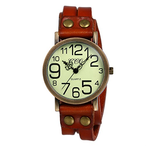 Ladies Unisex Vintage Large Arabic Markers Multi Layers Leather Wrap Cuff Bracelet Wrist Watch (Gorgeous Vintage Japan)