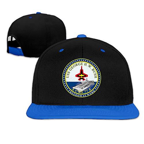 USS George H. W. Bush CVN-77 Crest Unisex Hip Hop Hat Trucker Flat Hats Adjustable Snapback Hats Blue ()