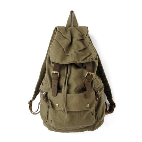 Flesser® Multi-function Canvas Backpack, School Bag Travel Bag, Rucksack Satchel Bookbag Hiking Bag (Green)