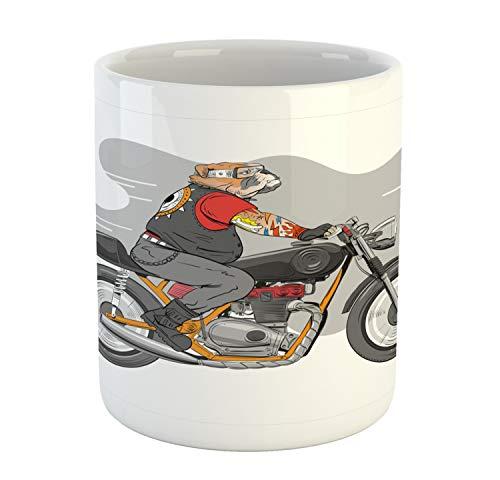 (Ambesonne Motorcycle Mug, English Bulldog with Tattoos Cruising on a Bike Hand Drawn Colorful Character, Printed Ceramic Coffee Mug Water Tea Drinks Cup, Multicolor)