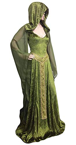 LETSQK Medieval Lace-up Vintage Hooded Robe Gothic Cosplay Dress Halloween Costume Green S