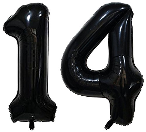 ZiYan 40inch Black Number 14 Balloon Party Festival Decorations Birthday Anniversary Jumbo foil Helium Balloons Party Supplies use Them as Props for Photos]()